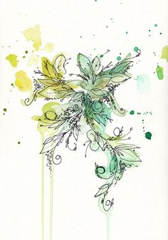 Illustrative Watercolor Abstract Giclee Print by artsypastel, $17.00
