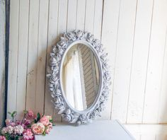 Gray and Gold Rose Mirror, Vintage Oval Mirror with Roses, Rustic Gray Nursery Mirror – 2019 - Nursery Diy French Cottage Decor, Shabby Chic Cottage, Shabby Chic Decor, Ornate Mirror, Oval Mirror, Nursery Mirror, Grey And Gold, Gray, Shabby Chic Bedrooms