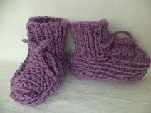 Babyschuhe gestrickt Gr. 62/68 Schuhe Merinowolle