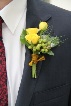 Flower Design Events: Yellow Rose Boutonniere