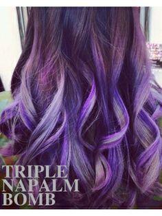 トリプルナパームボム【青みの紫】数色メッシュのグラデーションカラー