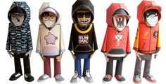 "Hoody Paper Toys Series - by DMC Choody  ==          A cool series of paper toys by DMC Hoody, customized by several designers. Look for ""About Hoody"", to download a blanke template and make Hoddy with your own style."