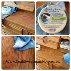 Norwex Cleaning Paste is amazing and cleaning up your wood! I got nail polish off of our kitchen table as well! It is a MUST have!