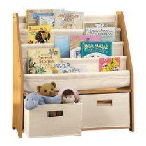 Kids' Sling Bookshelf with Storage Bins NATURAL  Find at our online store:  www.sforganizedinteriors.com  #Kids #Storage