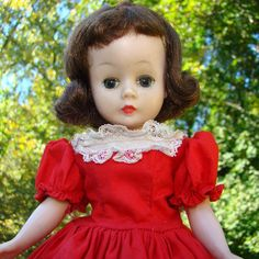 Cissette Doll Brunette in Red Cotton Dress Drop Waist Madame Alexander C1957 by AmericanBeautyDolls on Etsy