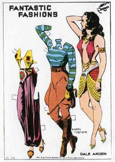 Fantastic Fashions - Dale Arden. Flash Gordon paper dolls illustrated by Alex Raymond, 1934