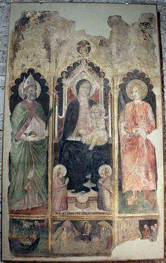Pietro e Antonio di Miniato, Madonna in trono tra i santi Niccolò e Lorenzo (1411),  dall'ex chiesa di San Giorgio,  Museo di Pittura murale, Prato, Toscana.