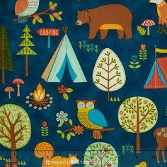Camp Cozy - Animal Campout Blue Yardage - Studio 8 - Quilting Treasures