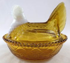 "Glass Hen on Nest Covered Dish 5"" WSC Basket Chicken Amber White Head c1900 #Westmoreland"