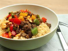 Quinoa met paprika, gehakt & noten