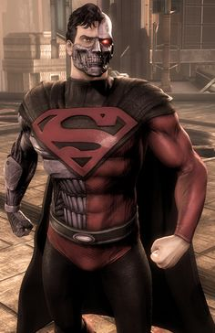 This is Cyborg Superman, a DC character. He is made of metal and his suit is made of synthetic skin.