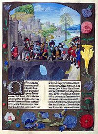 Miniature showing John the Fearless' assassination painted by Master of the Prayer Books