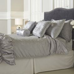 804971 Mayfair Manor Ruffle Satin Damask Jacquard 10 Piece Bedding Collection QVC Price: £57.00-£72.00 Eent Price: £51.00-£66.00 +  P&P: £7.95 2 Easy Pay instalments of  £25.50 - £33.00, plus P&P This luxurious 10-piece jacquard woven bedding set includes two housewife and two Oxford pillowcases, a duvet cover and a fitted sheet, a ruffled runner, plus three lovely cushions to finish the look - two in a square shape with tassels at each corner and one bolster. Create a cohesive and stylish