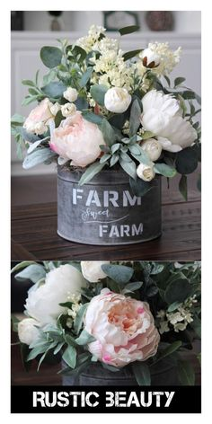 Just some rustic beauty to add farmhouse elegance to the home. I have so many places this could go. Other beautiful options available. #affiliate #farmhouse #homedecor #rustic #floral