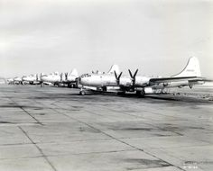 Boeing B-29 Superfortress bombers on the flight line in World War II