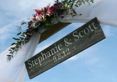 Wedding Sign Bride & Groom (names and wedding date) Rustic wedding sign for Beach Wedding, Destination Wedding, Outdoor Wedding, Vintage on Etsy, $25.00