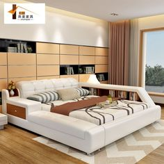 Bedroom furniture China leather bed Tatami bed Minimalist modern double bed Width includes 1.5 meters & 1.8 meters Paper art bed