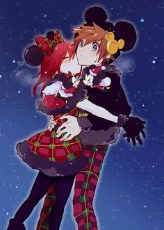 Sora and Kairi Kingdom Hearts Keyblade, Kingdom Hearts Games, Kingdom Hearts Fanart, The Legend Of Zelda, Anime Couples Manga, Cute Anime Couples, Anime Girls, Final Fantasy, Sora And Kairi