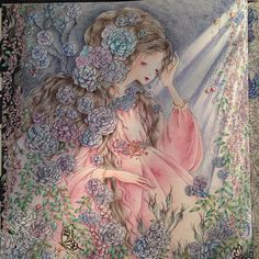 Sleeping Beauty —the left side page done~~#田代知子 #fairytalecolouringbook #おとぎ話のぬり絵ブック #コロリアージュ #大人の塗り絵 #大人のぬり絵 #塗り絵 #ぬりえ