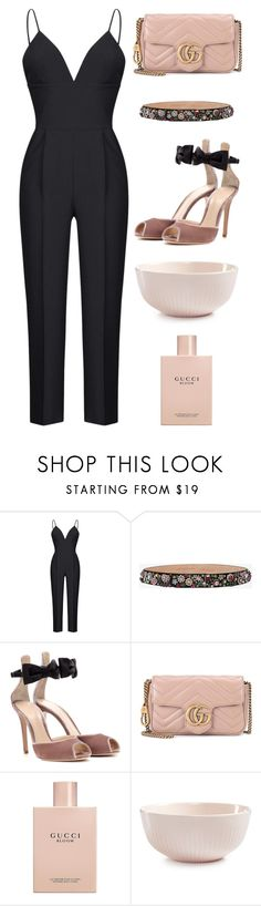"""""""Fitted Jumpsuit"""" by cherieaustin ❤ liked on Polyvore featuring Rasario, Alexander McQueen, Gianvito Rossi, Gucci and Hotel Collection"""