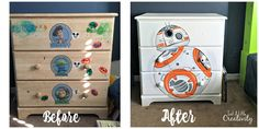 Just A Little Creativity: Star Wars BB8 Hand Painted Dresser- Boys Room Makeover {Part 2}