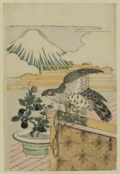 磯田湖龍齋: Dream Symbols of the New Year: Hawk, Eggplant and Mount Fuji - ボストン美術館 Japan Illustration, Yume, Dream Symbols, T Art, Oriental, Japanese Painting, Japanese Prints, Japan Art, Art Reference