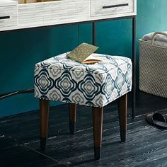 Upholstered Tufted Stool, a little stool like this for the vinyl chair to be reupholstered.