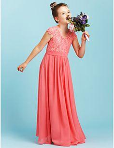 ac04117fa844 A-Line / Princess V Neck Floor Length Chiffon / Lace Junior Bridesmaid Dress  with Sash / Ribbon / Pleats by LAN TING BRIDE® / Wedding Party