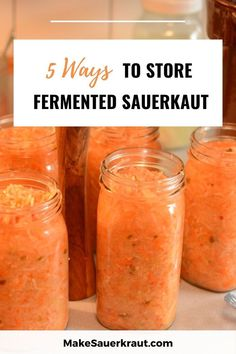 Are you ending up with more jars of fermented sauerkraut than you have places to store them? Storing sauerkraut can be a challenge. Here are 5 ways to store your sauerkraut. Fermented Sauerkraut, Homemade Sauerkraut, Fermented Cabbage, Sauerkraut Recipes, Cabbage Recipes, Fermented Foods, Fermenting Jars, Food Facts, Canning Recipes