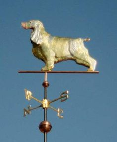 English Crocker Spaniel, Standing Dog Weathervane by West Coast Weather Vanes. This copper Cocker Spaniel Dog weathervane features a glass eye and distinctive tooling which gives the body realistic dimensions. Weather Vanes, Cocker Spaniel Dog, English Cocker, Whippet, Dog Design, West Coast, Terrier, Copper, Hardware
