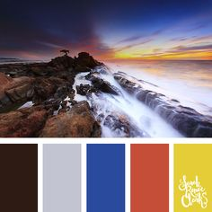 Vibrant blue, red and yellow color inspiration from this sunset over the water   Click for more color combinations inspired by beautiful landscapes and other coloring inspiration at https://sarahrenaeclark.com   Colour palettes, colour schemes, color therapy, mood board, color hue