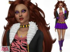 Monster High Clawdeen hair, boots, necklace, ears, ring