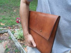 Laptop Bag with Button Stud Closure. Full Grain Leather Handmade By Leather Art, Leather Design, Tan Leather, Macbook Sleeve, Macbook Pro, Craft Bags, Computer Bags, Leather Working, Laptop Bag