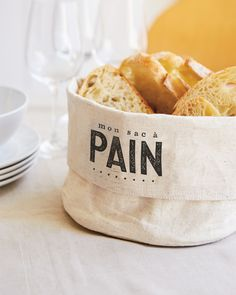 The Art of the Table - Essentials Collection Bread Bags, Bread Baskets, Home Chef, Decorative Accessories, Cooking, Food, Storage Baskets, Bread Holder, Homemade Home Decor