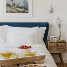 Luxury self-catering beach house in Porthleven, Scandi beach house Delphine, Stylish Bedroom, Breakfast In Bed, Upholstered Beds, Beach House, Bedroom Decor, Luxury, Furniture, Catering