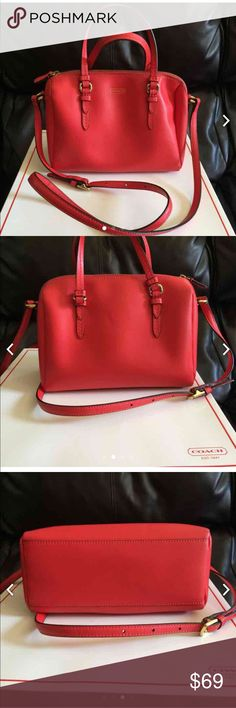 "COACH 2 WAY BAG Up for saleCoach Peyton Bennett Leather Mini Satchel Crossbody Bag in Neon pink Color. Style #50430. MSRP: $228. Water and Stain Resistant crosshatch leather material  Top zippered closure with leather pull Approx. Size: 10"" L x 6"" H x 4.25"" D (please note that this is a MINI bag) Double leather handles with 5"" drop Adjustable longer leather strap for shoulder or crossbody wear . BOX included the hangtag coach chain been missing . You can replace a new chain. Coach Bags…"