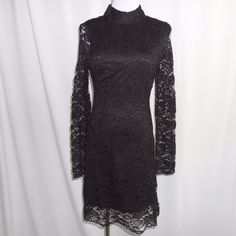 Black Lace Dress Cocktail Evening Classic Lbd Mock Neck Long Sleeves S M L