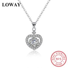 Silver Heart Necklace 925 Sterling Silver Necklaces & Pendants with Zircon //Price: $24.99 & FREE Shipping //     #925silverjewelry