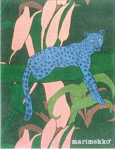 Marimekko Sininen gepardi - Blue Cheetah Design Teresa Moorhouse