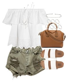 """""""outfit for summer with khaki shorts and slides"""" by ferned ❤ liked on Polyvore featuring OneTeaspoon, Madewell, Billabong, Givenchy, ASOS and Forever 21"""