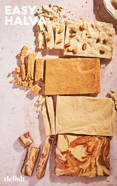 Halva is a Middle Eastern treat made from tahini and our recipe makes a great base. #recipe #howtomake #easy Gluten Free Desserts, Delicious Desserts, Yummy Food, Candy Recipes, Snack Recipes, Veg Recipes, Snacks, Halva Recipe, Jewish Recipes