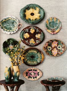Many Majolica plates depict the food that is meant to be served upon them. (Be careful not to serve food on vintage Majolica platters, since the glazes likely contain lead. Kitsch, Vignette Design, Displaying Collections, Vintage Pottery, Plates On Wall, Plate Wall, Vignettes, Stoneware, Decorative Plates