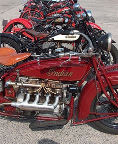 Indian Bikes. Indian Model 401 in fore ground.
