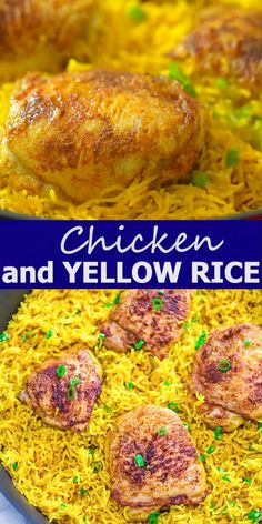 This Chicken and Yellow Rice Skillet truly is a restaurant-quality dinner that's so quick to make and in just one skillet. The rice is fluffy and flavorful, and the chicken is wonderfully tender. Easy Chicken Recipes, Healthy Dinner Recipes, Vegetarian Recipes, Cooking Recipes, Chicken And Yellow Rice, Chicken Rice, Davita Recipes, Yellow Rice Recipes, Tortillas Veganas