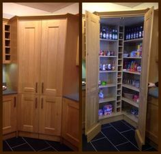 Concealed walk in pantry with LED lights. This would be great, but it would sacr… Concealed walk in pantry with LED lights. This would be great, but it would sacrifice a lot of worktop space. Wickes Kitchen - Own Kitchen Pantry Corner Pantry Cabinet, Kitchen Pantry Cupboard, Free Standing Kitchen Pantry, Kitchen Pantry Design, Kitchen Cupboards, Cabinet Closet, Kitchen Decor, Kitchen With Corner Pantry, Diy Kitchen