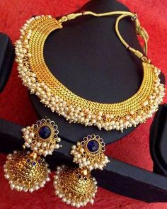 Blue south indian temple chandni pearls golden necklace set