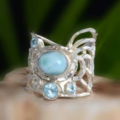 EXCLUSIVE 925 STERLING SILVER LARIMAR RING 8.32g DJR10650 SZ-8 #Handmade #Ring