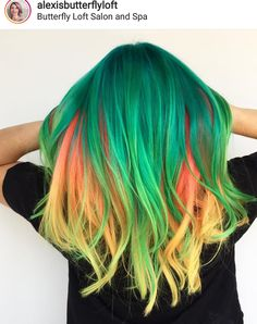 Green, yellow and orange hair Bright Red Hair, Bright Hair Colors, Yellow Hair, Orange Yellow, Gorgeous Hair Color, Cool Hair Color, Pelo Multicolor, Pulp Riot Hair Color, Neon Hair
