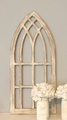 Fresh Distressed Arched Window Frame. $42.00, via Etsy. Add a mirror  SG51