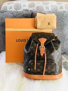 8f0df889378d Gorgeous Authentic Louis Vuitton Monogram Montsouris MM Backpack Bag by  CarliesLovedLVBags on Etsy